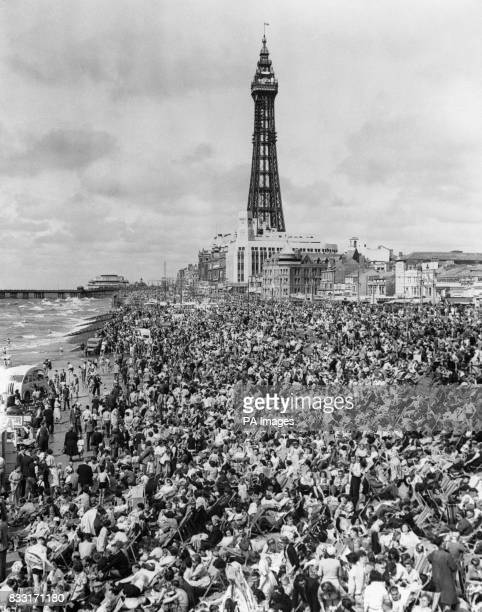 The Blackpool Bank Holiday crowds on the beach