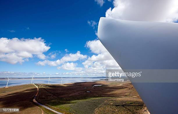 The blade of a wind turbine is seen on Capital Wind Farm in Bungendore Australia on Wednesday Dec 22 2010 The wind farm comprises 67 21MW wind...