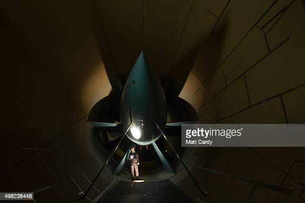 The blades of a turbine are checked in the Airbus Filton's low speed wind tunnel facility at the Airbus aircraft manufacturer's Filton site on...