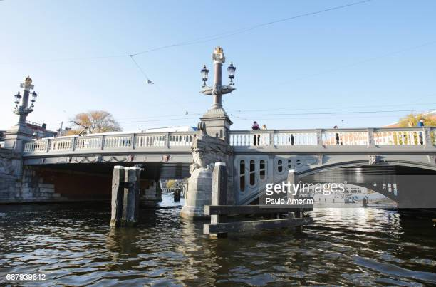 The Blauwbrug over Amstel River in Amsterdam