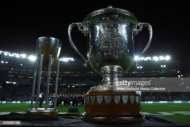 The Bledisloe and Rugby Championship Cups are on display during The Rugby Championship match between the New Zealand All Blacks and the Australian...