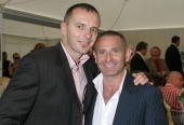 'The Block' personalities Gavin Atkins and Warren Sonin attend Sydney's First Illegal Gay Wedding at Circular Quay November 25 2005 in Sydney...