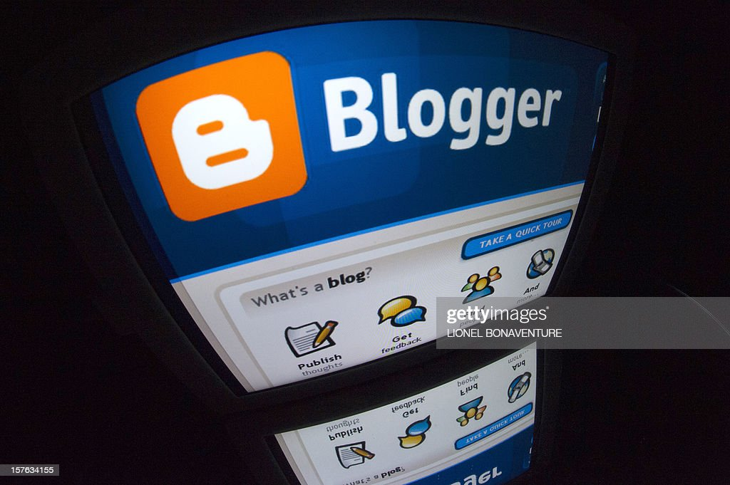 The 'Blogger' logo is seen on a tablet screen on December 4, 2012 in Paris.