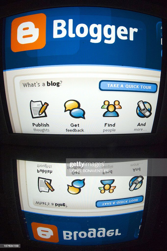 The 'Blogger' logo is seen on a tablet screen on December 4, 2012 in Paris. AFP PHOTO / LIONEL BONAVENTURE