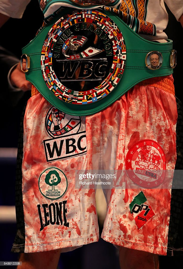 The blood stained shorts of winner Andrea Scarpa of Italy after the Vacant WBC Silver SuperLightweight Championship fight against John Wayne Hibbert...