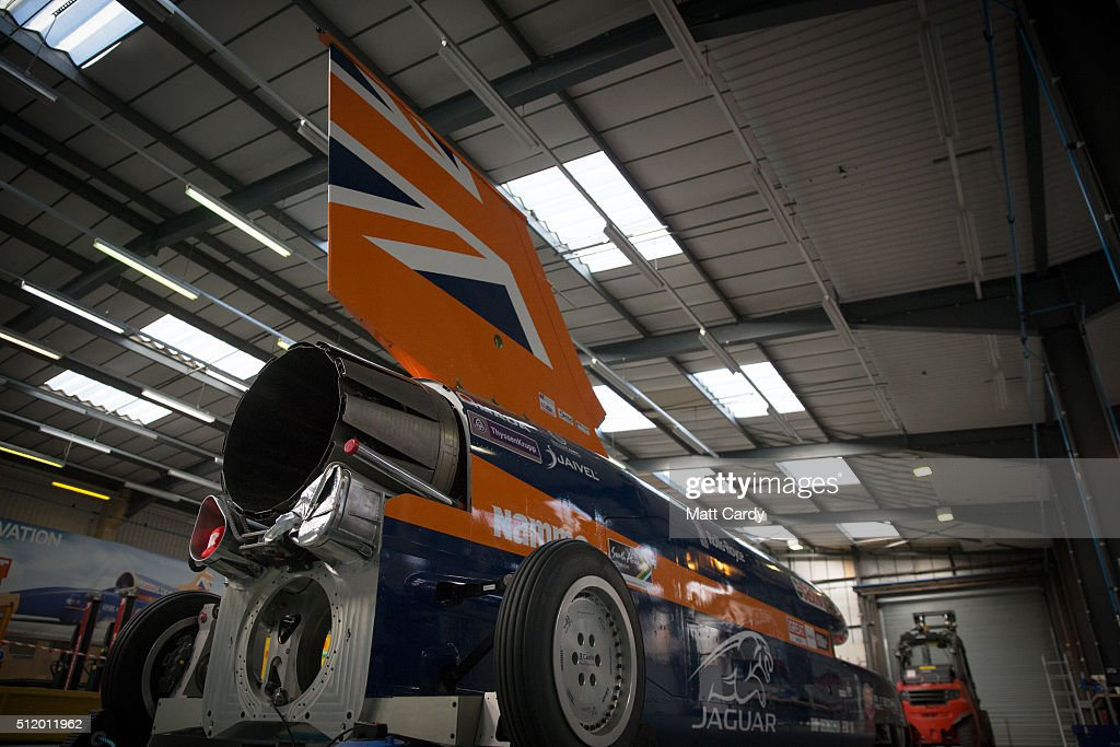 The Bloodhound SSC vehicle is parked inside the design centre in Avonmouth on February 24 2016 in Bristol England It is hoped that when finally...