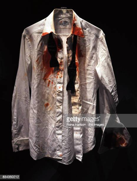 The bloodstained shirt worn by James Bond actor Daniel Craig in his first appearance as the 007 secret agent in Casino Royale at an exhibition...