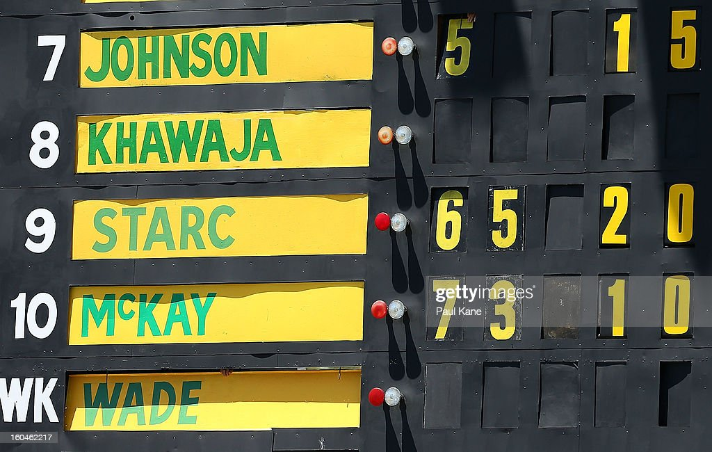 The blowing figures for <a gi-track='captionPersonalityLinkClicked' href=/galleries/search?phrase=Mitchell+Starc&family=editorial&specificpeople=6475541 ng-click='$event.stopPropagation()'>Mitchell Starc</a> are displayed on the scoreboard during game one of the Commonwealth Bank One Day International Series between Australia and the West Indies at WACA on February 1, 2013 in Perth, Australia.