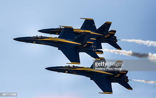 The Blue Angels fly in a diamond formation during the Great State of Maine Airshow at Brunswick Landing in Brunswick ME on Saturday September 5 2015...