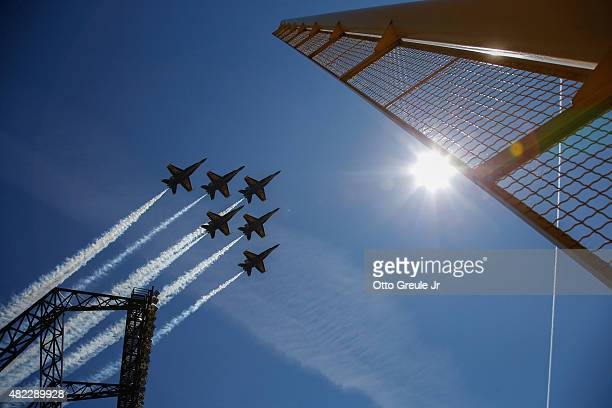The Blue Angels fly over the ballpark prior to the game between the Arizona Diamondbacks against the Seattle Mariners at Safeco Field on July 29 2015...