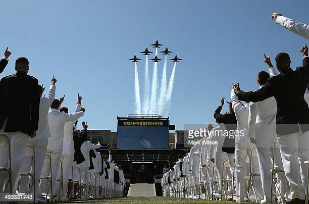 The Blue Angels fly over US Naval Academy graduation ceremonies May 23 2014 in Annapolis Maryland US Secretary of Defense Chuck Hagel is scheduled to...