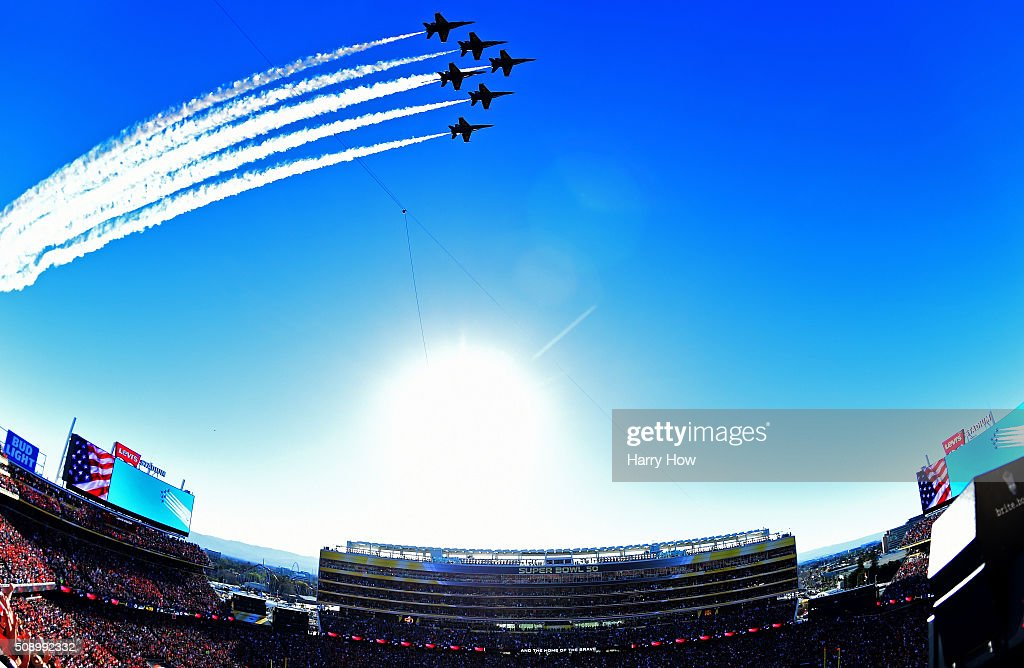 The Blue Angels perform a fly-over prior to Super Bowl 50 between the Denver Broncos and the Carolina Panthers at Levi's Stadium on February 7, 2016 in Santa Clara, California.
