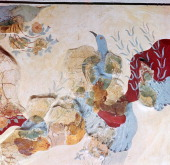 The 'Blue Bird' fresco from the Minoan royal palace at Knossos now at the Archaeological Museum in Heracleion 17th14th century BC