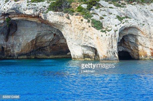 Blue las cuevas de Zakynthos (Grecia) : Foto de stock