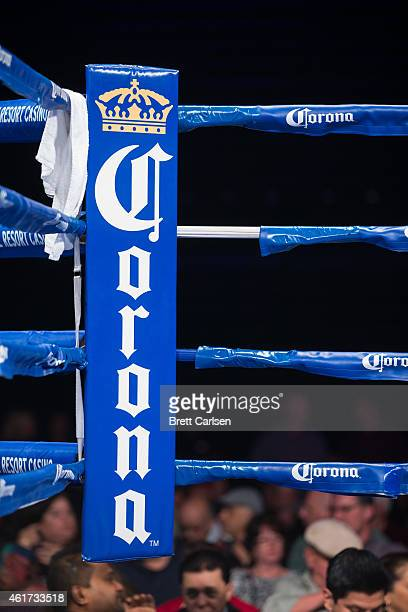 The blue corner decorated with a Corona logo for ESPN's Friday Night Fights on January 16 2015 at Turning Stone Casino in Verona New York