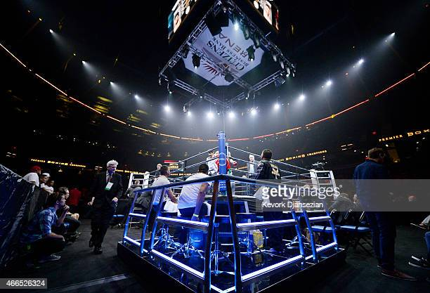 The blue corner of boxer Hanzel Martinez is seen before the start of the 8 round bantamweight bout against German Meraz at Citizens Business Bank...