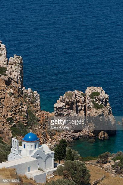 The blue domed church at the water's edge; Panayia Poulati, Sifnos, Cyclades, Greek Islands, Greece