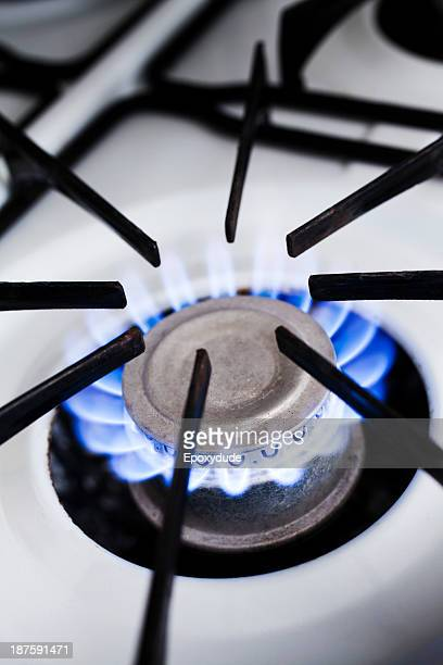 The blue flame of a lit gas stove burner, close-up