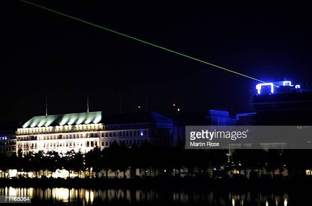 The blue goals are seen during the FIFA World Cup Blue Goal Laser Show on June 9 2006 in Hamburg Germany