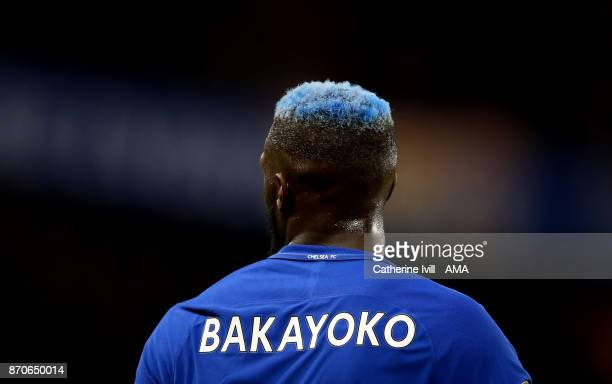 The blue hair of Tiemoue Bakayoko of Chelsea during the Premier League match between Chelsea and Manchester United at Stamford Bridge on November 5...