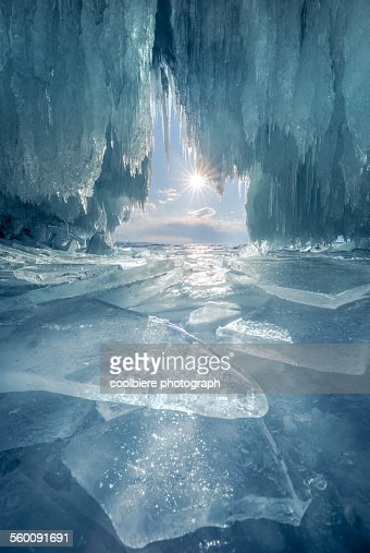 The blue ice cave at lake Baikal