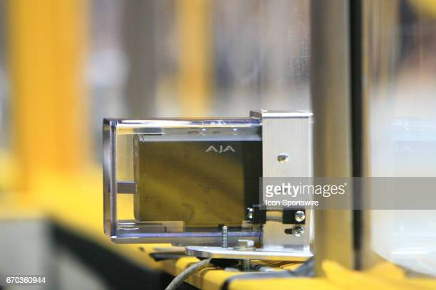 The blue line camera on the boards is shown during game three of Round One of the Stanley Cup Playoffs between the Nashville Predators and the...