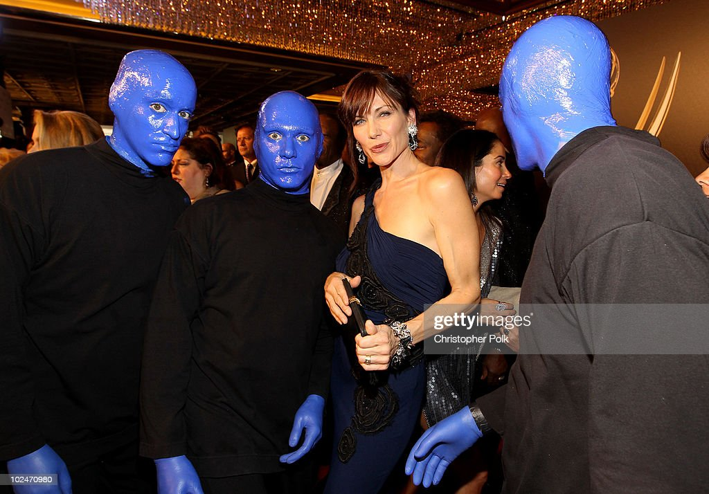 The Blue Man Group and actress Stacy Haiduk arrive at the 37th Annual Daytime Entertainment Emmy Awards held at the Las Vegas Hilton on June 27, 2010 in Las Vegas, Nevada.