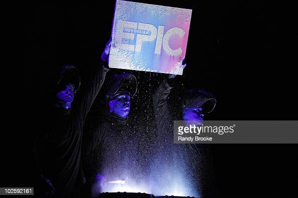 The Blue Man Group performs at the Norwegian Epic cruise ship christening at Pier 88 on July 2 2010 in New York City