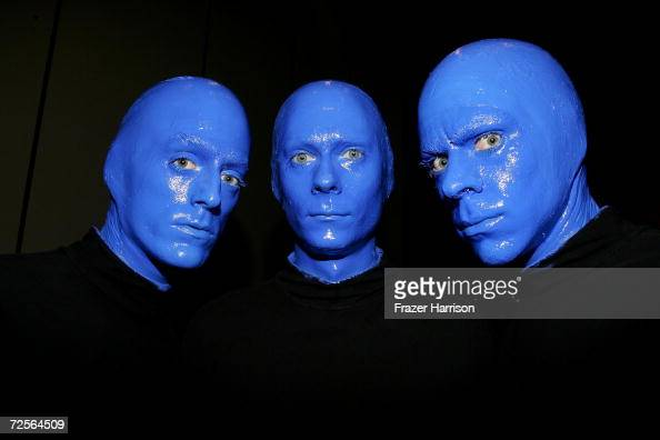 The Blue Man Group poses at the Distinctive Asset Gift Lounge during the Academy of Country Music Awards held at the Mandalay Bay on May 17 2005 in...