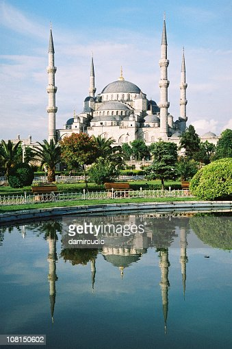 The blue mosque in Istanbul, Turkey with reflection