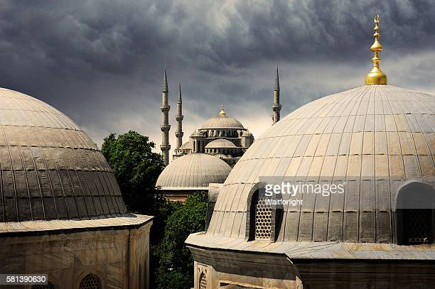 The Blue Mosque under dark clouds in Istanbul