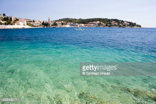 The blue waters of bay of Stari Grad
