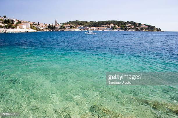 The blue waters of bay of Stari Grad
