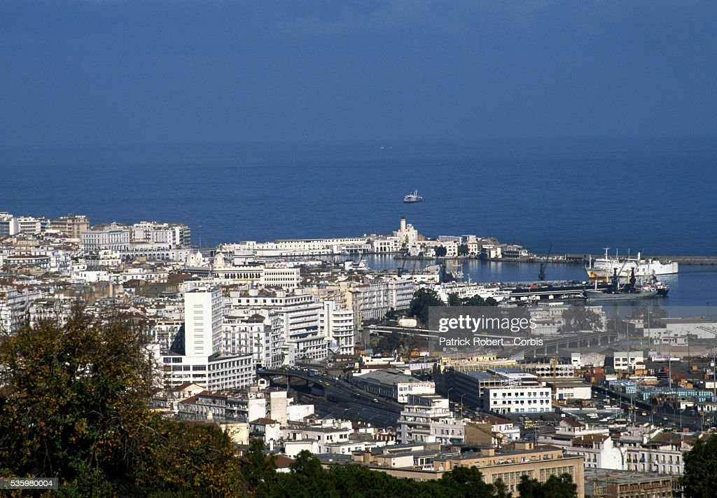 The blue waters of the Mediterranean lie just beyond the city of Algiers.