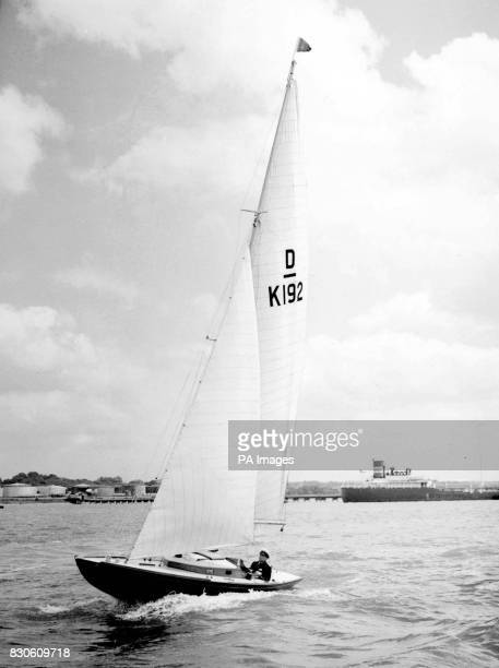 The Bluebottle a Dragon Class racing yacht on sail stretching trials off Hamble Hampshire which was presented to Princess Elizabeth now Britain's...