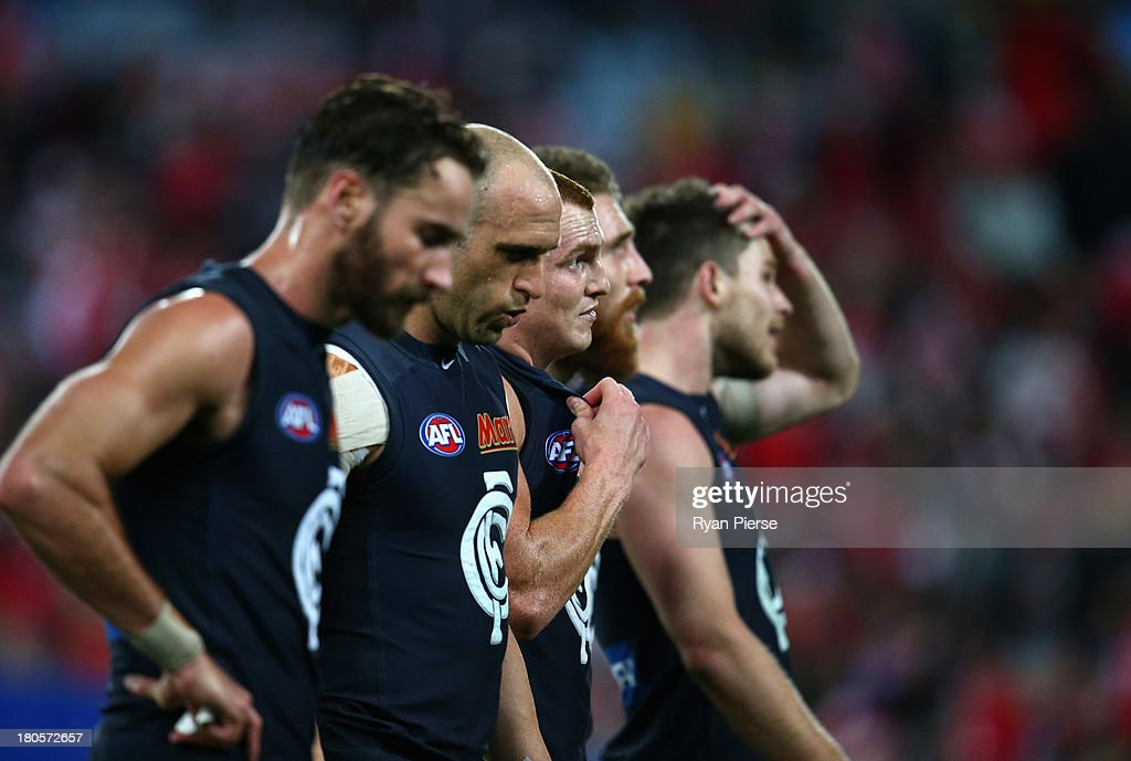 The Blues look dejected as they leave the ground during the AFL First Semi Final match between the Sydney Swans and the Carlton Blues at ANZ Stadium on September 14, 2013 in Sydney, Australia.