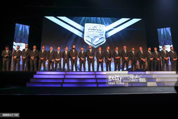 The Blues team stand on stage during the New South Wales State of Origin team announcement at The Star on May 22 2017 in Sydney Australia
