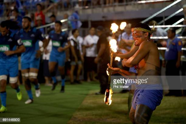 The Blues walk out onto the field during the round 15 Super Rugby match between the Blues and the Reds at Apia Park National Stadium on June 2 2017...