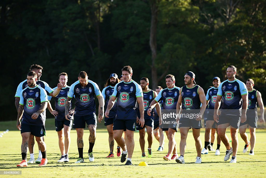 The Blues walk to a drinks break during a New South Wales Blues State of Origin training session on May 25, 2016 in Coffs Harbour, Australia.