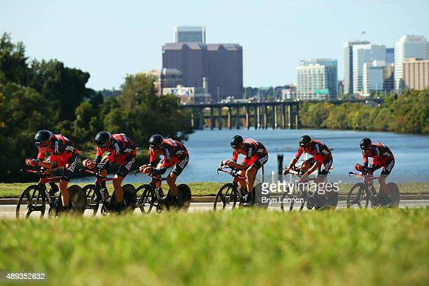 The BMC Racing Team in action on their way to wining the Men's Team Time Trial on day one of the UCI Road World Championships on September 20 2015 in...