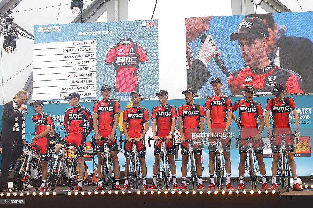 The BMC Racing Team is introduced during the team presentation ahead of the 2016 Le Tour de France on June 30, 2016 in Sainte-Mere-Eglise, France.