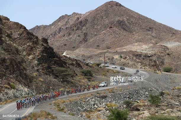 The BMC Racing Team lead the peloton through the Oman mountains on stage five of the 8th Tour of Oman a 1525km stage from Sama'il to Jabal Al Akhdhar...
