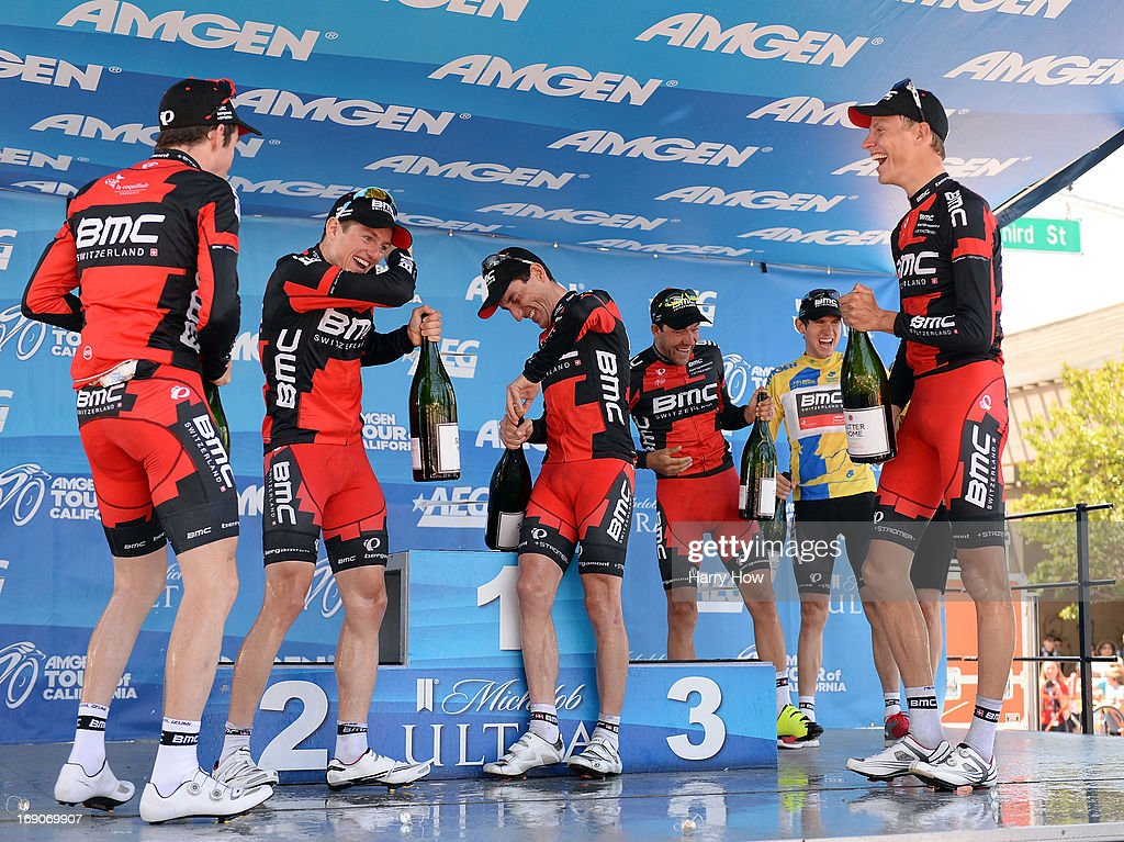The BMC Racing team of Brent Bookwalter of the United States, Mathias Frank of Switzerland, Marco Pinotti of Italy, Amael Moinard of France, Tejay van Garderen of the United States and Michael Schar of Switzerland celebrate their overall team victory following Stage 8 of the Tour California on May 19, 2013 in Santa Rosa, California.