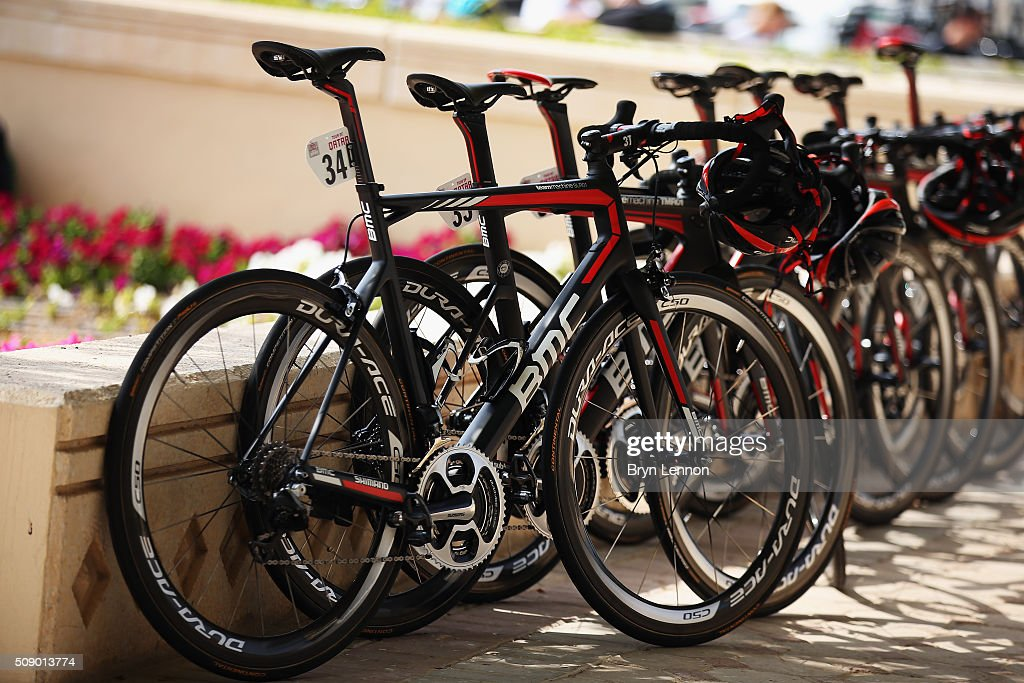 The BMC Team bikes are lined up at the start of stage one of the 2016 Tour of Qatar, a 176.5km road stage from Durkhan to Al Khor Corniche on February 8, 2016 in Durkhan, Qatar.