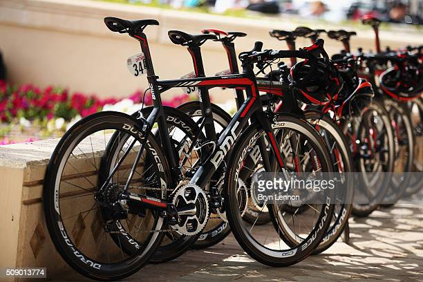 The BMC Team bikes are lined up at the start of stage one of the 2016 Tour of Qatar a 1765km road stage from Durkhan to Al Khor Corniche on February...