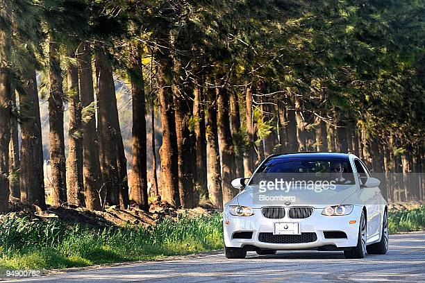 The BMW 2008 M3 coupe is photographed while being testdriven in Monterey California US on Tuesday Feb 12 2008 The car features a 4liter 32valve...