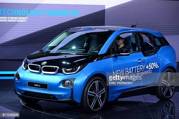 The BMW i3 is presented on the first day of the press days of the Paris motor Show on September 29 2016 / AFP / ERIC PIERMONT
