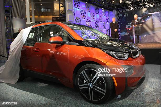 The BMW i3 is unveiled as it wins the Green Car of the Year Award at the 2014 Los Angeles Auto Show on November 20 2014 in Los Angeles California...