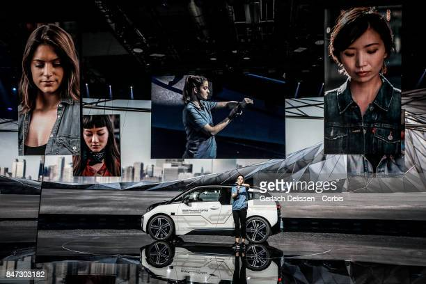 The BMW i3 Personal CoPilot Autonomous Driving test Vehicle as on display at the 2017 Frankfurt Auto Show 'Internationale Automobil Ausstellung' on...
