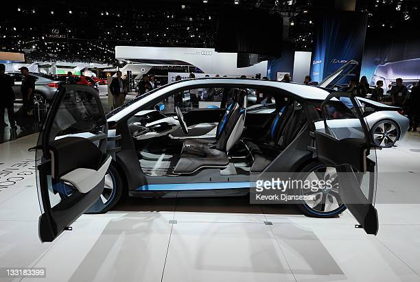 The BMW i3 plugin hybrid concept car makes its North American debut at the Los Angeles Auto Show on November 17 2011 in Los Angeles California The...